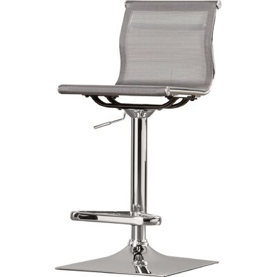 Bartow Adjustable Height Swivel Bar Stool Upholstery: Silver