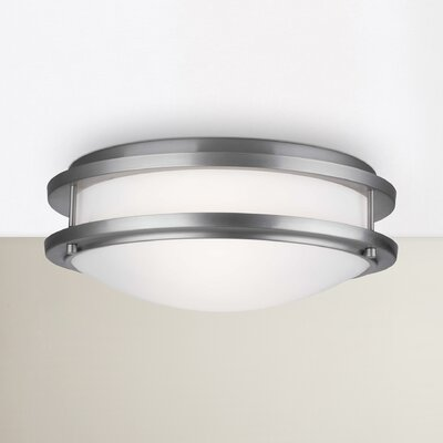 Belfield 2-Light Flush Mount Size: 4.875 H x 13.75 Dia, Finish: Satin Nickel