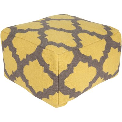 Zahara Lavish Lattice Pouf Ottoman Upholstery: Golden Yellow / Pewter