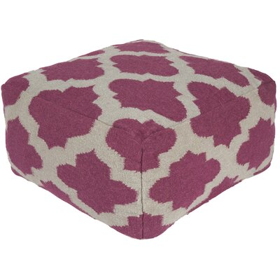 Lavish Lattice Pouf Ottoman Upholstery: Raspberry Wine / Gray