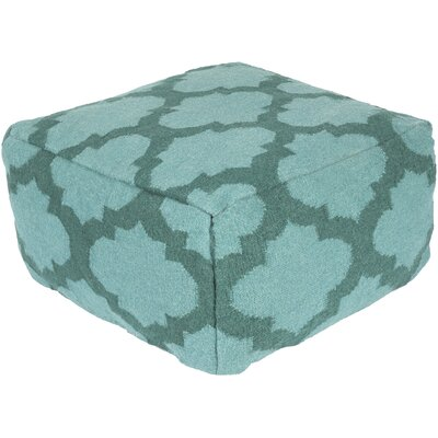 Zahara Lavish Lattice Pouf Ottoman Upholstery: Teal Green / Sea Blue