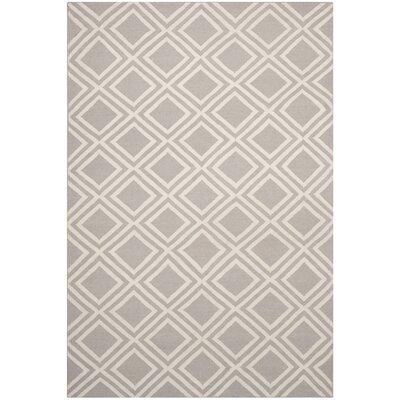 Brianna Grey/Ivory Area Rug Rug Size: 6 x 9