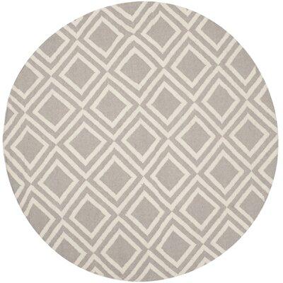 Brianna Grey/Ivory Area Rug Rug Size: Round 6