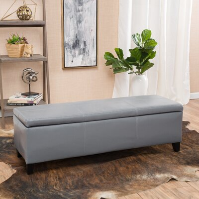 Charlenne Faux Leather Storage Ottoman Upholstery: Grey
