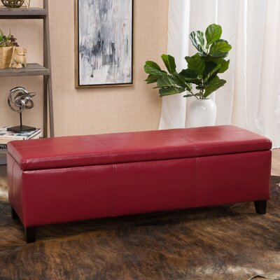 Charlenne Faux Leather Storage Ottoman Upholstery: Red