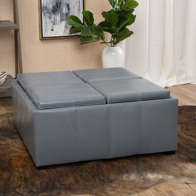 Adrielle Cube Shaped Faux Leather Tray Top Ottoman Upholstery: Grey