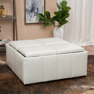 Adrielle Cube Shaped Faux Leather Tray Top Ottoman Upholstery: Ivory