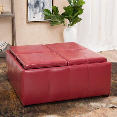 Adrielle Cube Shaped Faux Leather Tray Top Ottoman Upholstery: Red