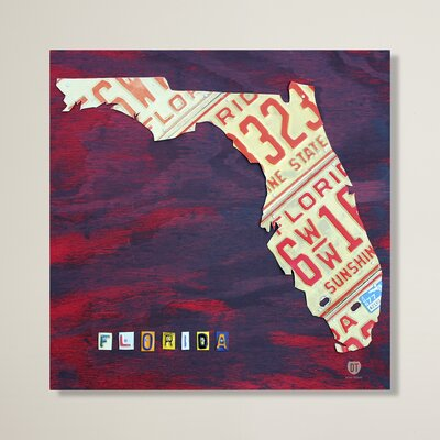 Florida License Plate by Design Turnpike Graphic Art on Wrapped Canvas Size: 14