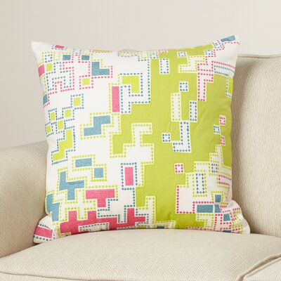 Swilley Cotton Throw Pillow Size: 18 H x 18 W x 4 D, Color: Lime/Magenta/Teal/Ivory