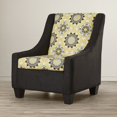 Belinda Accent Armchair Upholstery: Black / Yellow