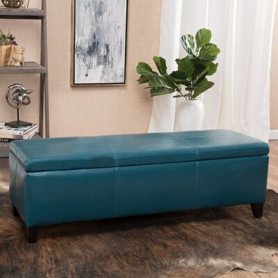 Charlenne Faux Leather Storage Ottoman Upholstery: Teal