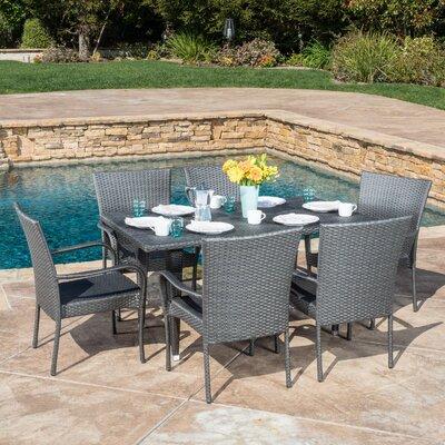 Marissa Outdoor 7 Piece Dining Set Color: Gray