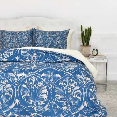 Carlton Damask Duvet Cover Set Size: Queen