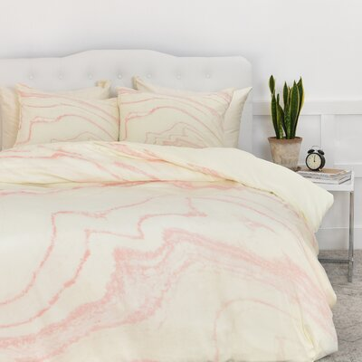 Currans Blush Marble Duvet Cover Set Size: Queen