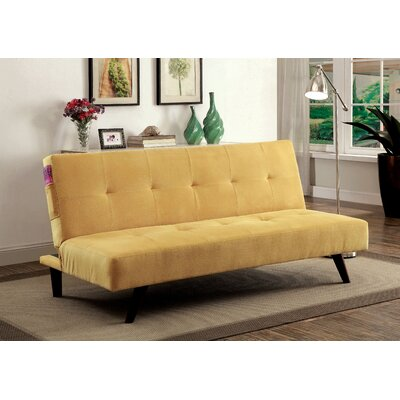 Queenscliff Tufted Futon Convertible Sofa Upholstery: Yellow