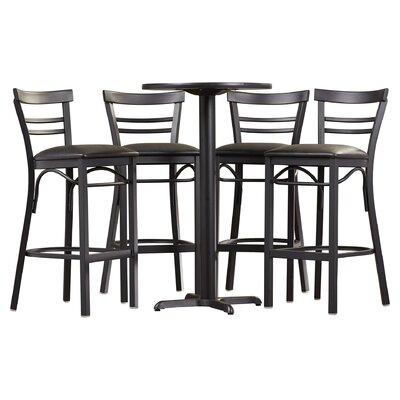 Brodeslavy 5 Piece Pub Table Set Finish: Black