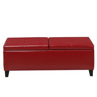 Mengel Leather Storage Ottoman Upholstery: Red