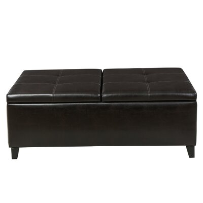 Mengel Leather Storage Ottoman Upholstery: Brown