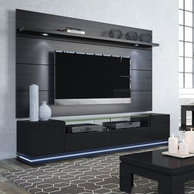Lasker 85.5 TV Stand Color: Black Gloss / Black Matte
