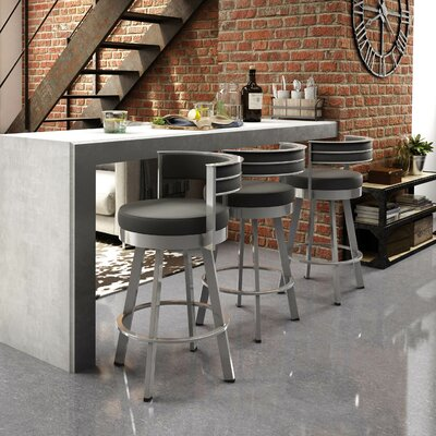 Matthews 30.13 Swivel Bar Stool Base Finish: Glossy Grey, Upholstery: Matte Charcoal Black