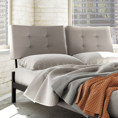 Maxton Upholstered Panel Headboard Size: Full, Color (Headboard/Frame): Grey Polyurethane/Brown Metal