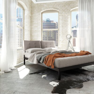 Maxton Upholstered Platform Bed Size: Queen, Color (Headboard/Frame): Grey Polyurethane/Brown Metal