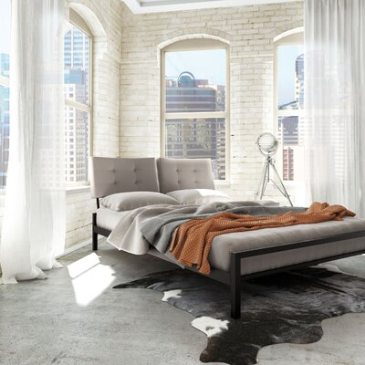 Maxton Upholstered Platform Bed Size: Queen, Color (Headboard/Frame): Grey Fabric/Black Metal