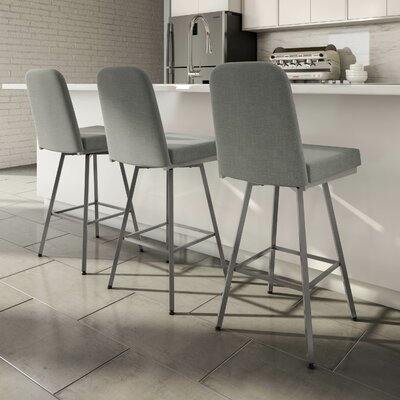 Mesic 30 Swivel Bar Stool Upholstery: Glossy Grey/Medium Grey