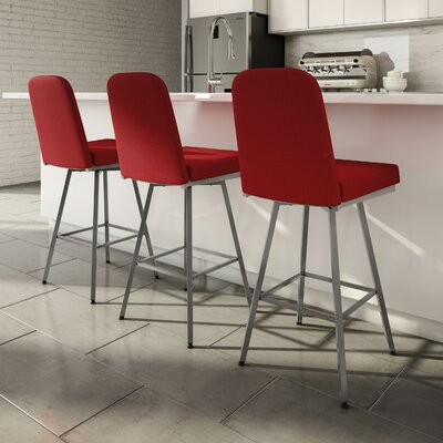 Mesic 30 Swivel Bar Stool Upholstery: Glossy Grey/Red