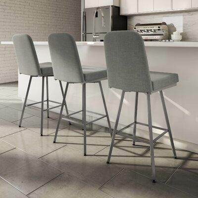 Mesic 26 Swivel Bar Stool Upholstery: Glossy Grey/Medium Grey