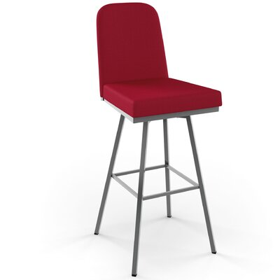 Mesic 26 Swivel Bar Stool Upholstery: Glossy Grey/Red