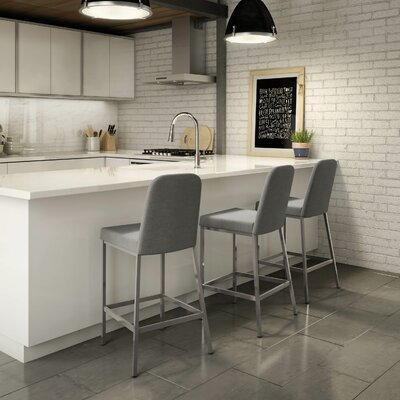 Mesic 26.13 Bar Stool Upholstery: Glossy Grey/Medium Grey