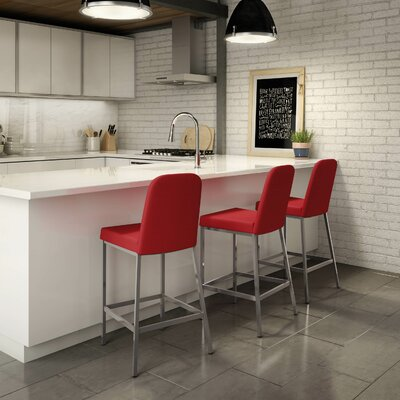 Mesic 26.13 inch Bar Stool Upholstery: Glossy Grey/Red
