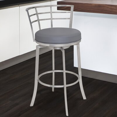 Morris 26 inch Swivel Bar Stool Upholstery: Gray