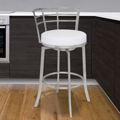 Morris 26 Swivel Bar Stool Upholstery: White