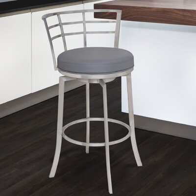 Morris 30 Swivel Bar Stool Upholstery: Gray