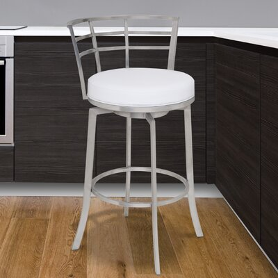 Morris 30 Swivel Bar Stool Upholstery: White