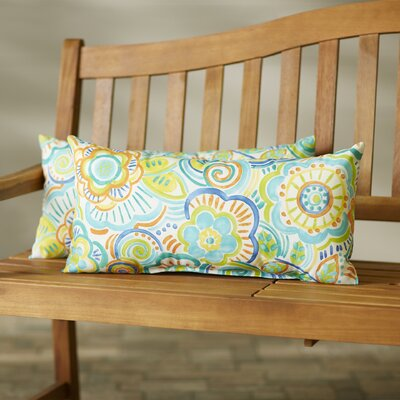 Annette Outdoor Lumbar Pillow Size: 12 H x 24 W x 5 D, Color: Teal