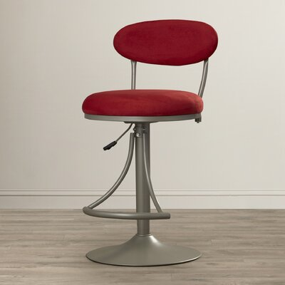 Elon Adjustable Height Swivel Bar Stool Upholstery: Flame