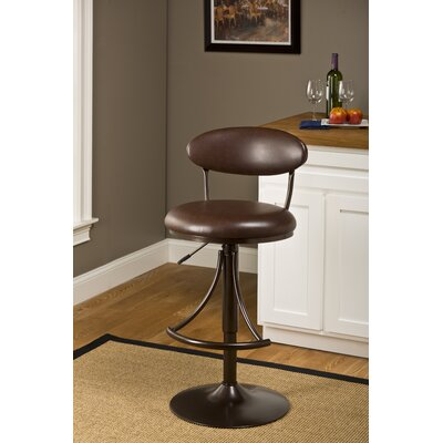 Elon Adjustable Height Swivel Bar Stool Upholstery Color: Brown Vinyl