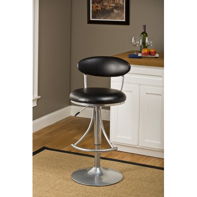Elon Adjustable Height Swivel Bar Stool Upholstery Color: Black Vinyl