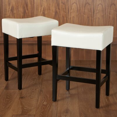 Lorraine 26.71 inch Bar Stool Upholstery: Ivory