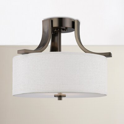 Lake Park 2-Light Ceiling Lamp in Brushed Nickel Finish: Oiled Bronze