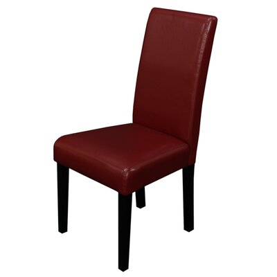 Aubrey Parsons Chair Upholstery: Red, Finish: Brown