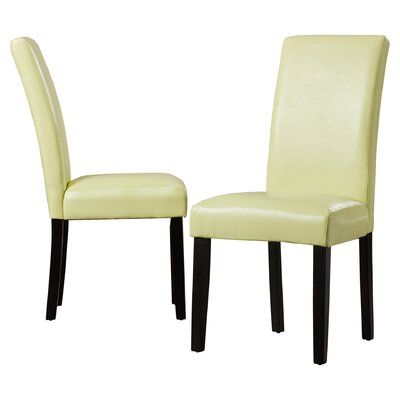 Aubrey Parsons Chair Upholstery: Light Green, Finish: Espresso