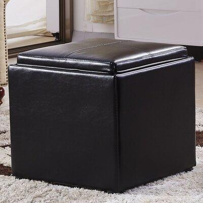 Caddy Storage Ottoman Upholstery: Black