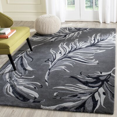 White Bird Gray Area Rug Rug Size: Rectangle 4 x 6