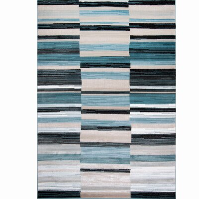 Dexter Blue/White Area Rug Rug Size: 52 x 72