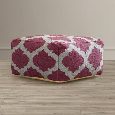 Zahara Lavish Lattice Pouf Ottoman Upholstery: Raspberry Wine / Gray